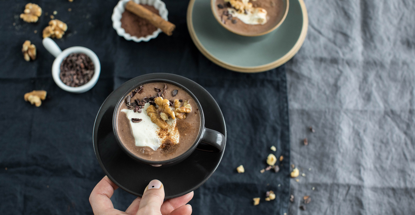 Protein Hot Chocolate With Cinnamon And Walnut